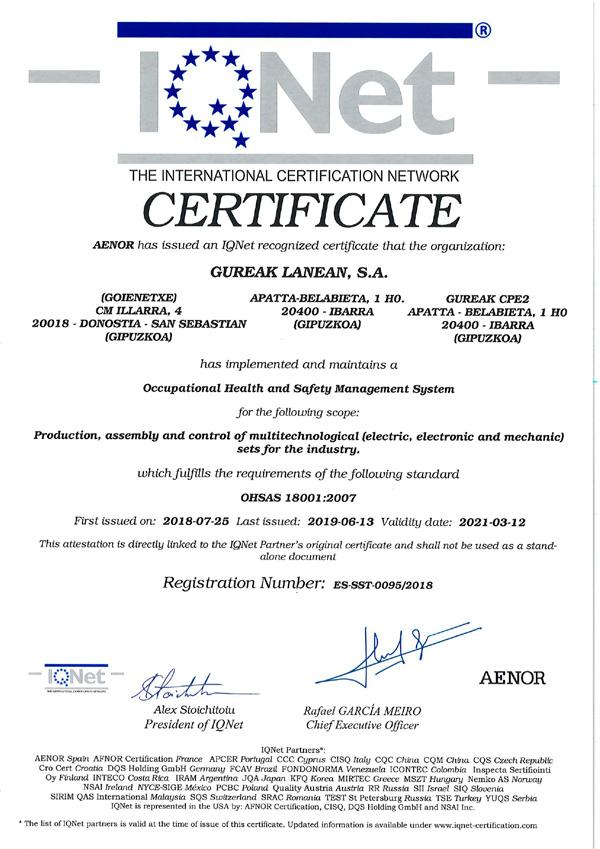 AENOR certifica que Gureak Lanean S.A dispone de un sistema de gestión de Seguridad y…